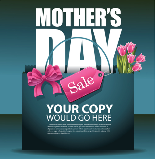 Set of happy mother's day art background free vector