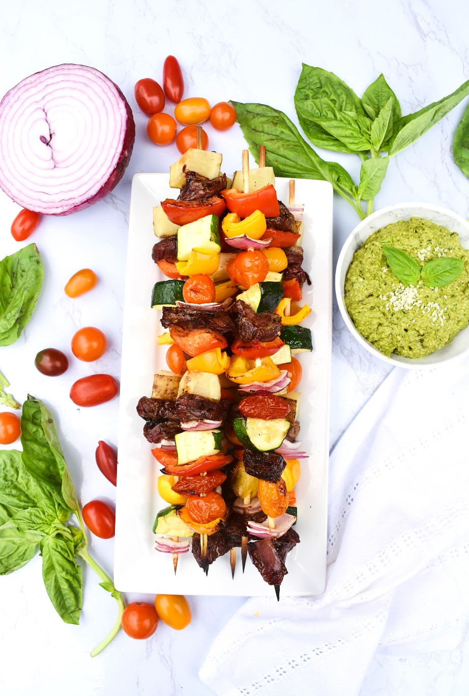 Steak Kababs with Pesto