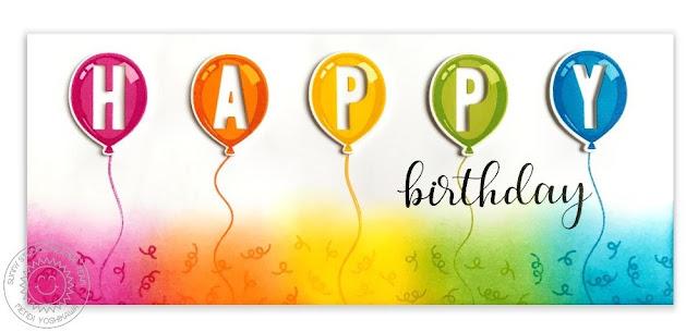 Sunny Studio Stamps: Birthday Balloon Color Layering Rainbow HAPPY Birthday Card by Mendi Yoshikawa