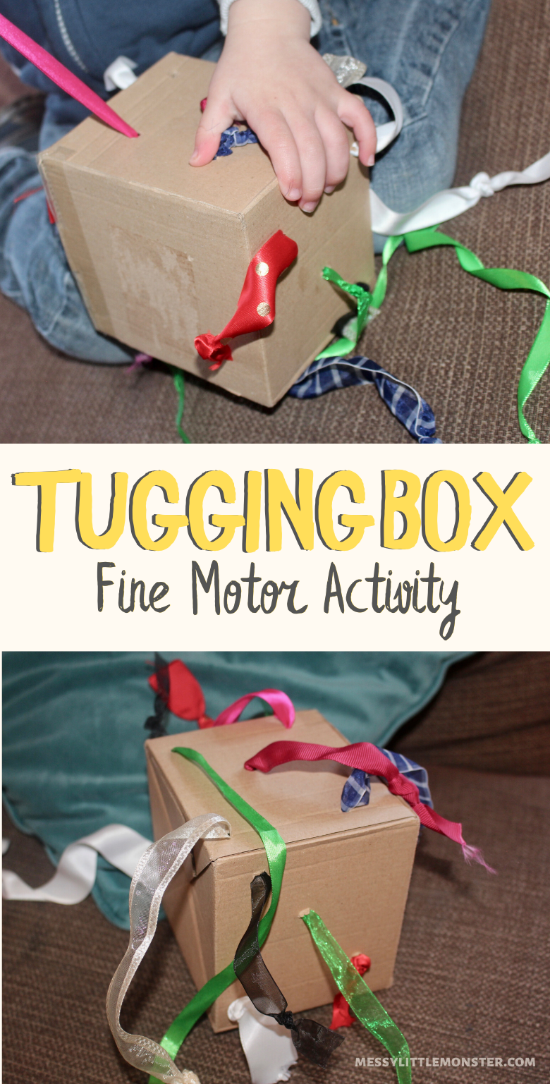Homemade tugging box toy for toddlers and babies. Fine motor activity.