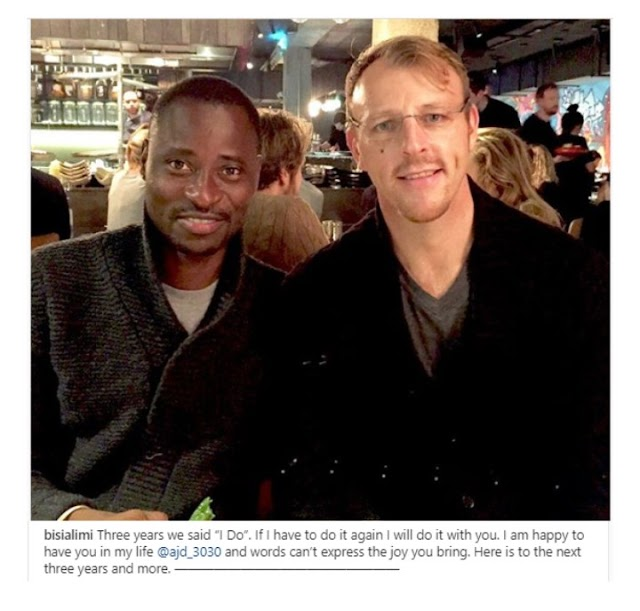 Gay rights advocate, Bisi Alimi and his husband, Anthony Davis are celebrated their third wedding anniversary on Monday, November 4, 2019.