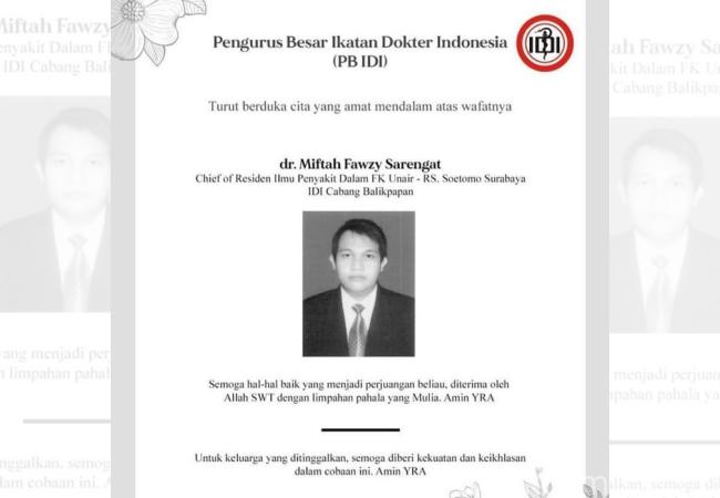 Miftah Fawzy Sarengat, Dokter di Surabaya Meninggal Terpapar Covid-19