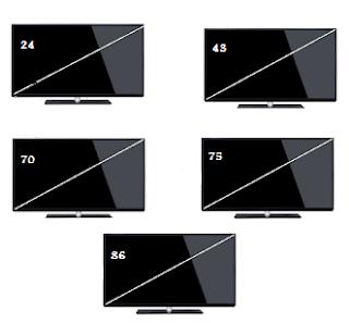 مقاس شاشة 24-43-70-75-86 بوصة بالسنتيمتر led و lcd