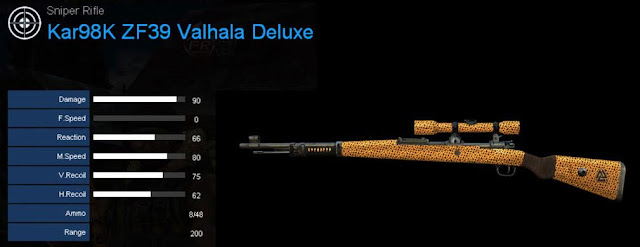 Detail Statistik Kar98K ZF39 Valhala Deluxe