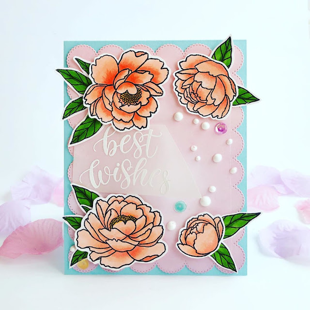 Sunny Studio Stamps: Pink Peonies Customer Card by Vicki Poulton