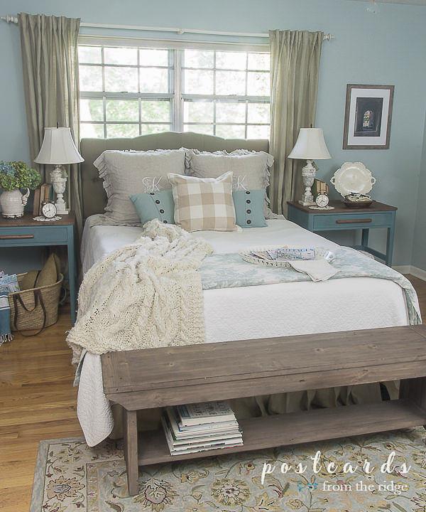 master bedroom with Benjamin Moore Woodlawn Blue walls