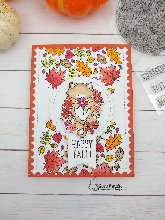 Happy Fall by Diane features Fall Roundabout, Newton's Flower Garden, Circle Frames, Frames & Flags, and Framework by Newton's Nook Designs; #newtonsnook