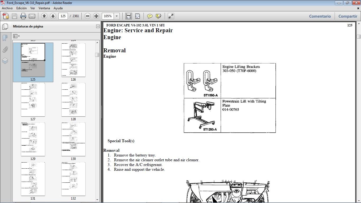 Manuales De Taller De Ford  Ford Escape 2000