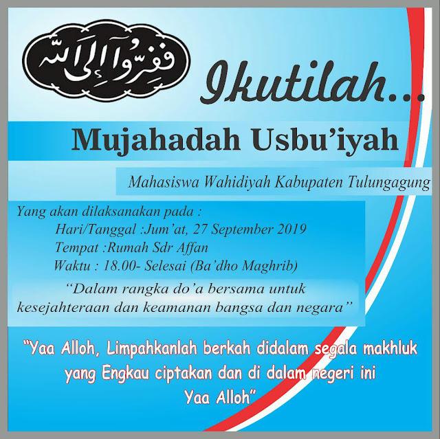 Contoh Pamflet Acara Mujahadah Usbu'iyah