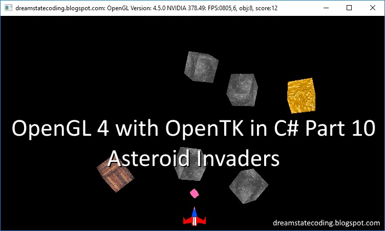 OpenGL 4 with OpenTK in C# Part 10: Asteroid Invaders Screenshot