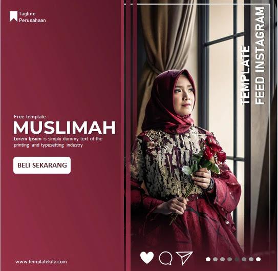 Download Template Feed Instagram Merah Marron Powerpoint