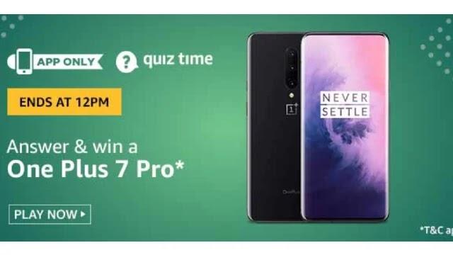 Amazon OnePlus 7 Pro Quiz Answers - Win OnePlus 7 Pro
