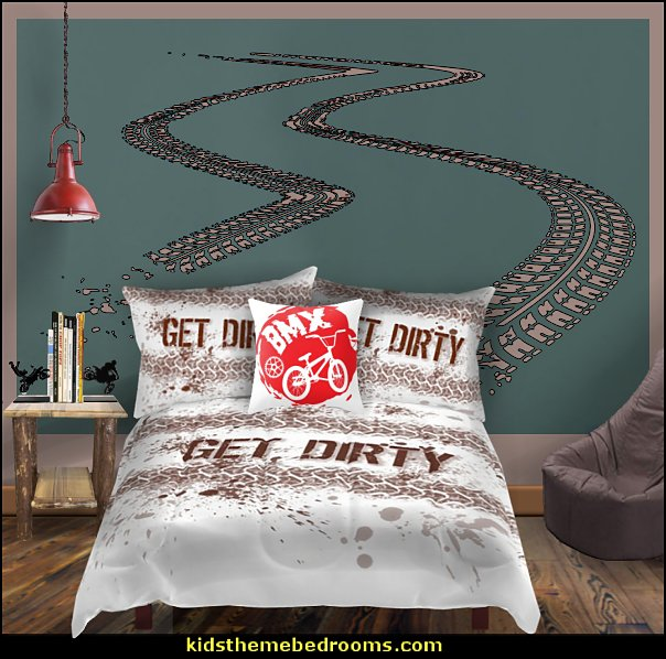extreme sports dirt bike bedroom  Dirt bike room decor - Dirt bike wall art - Motocross bedding
