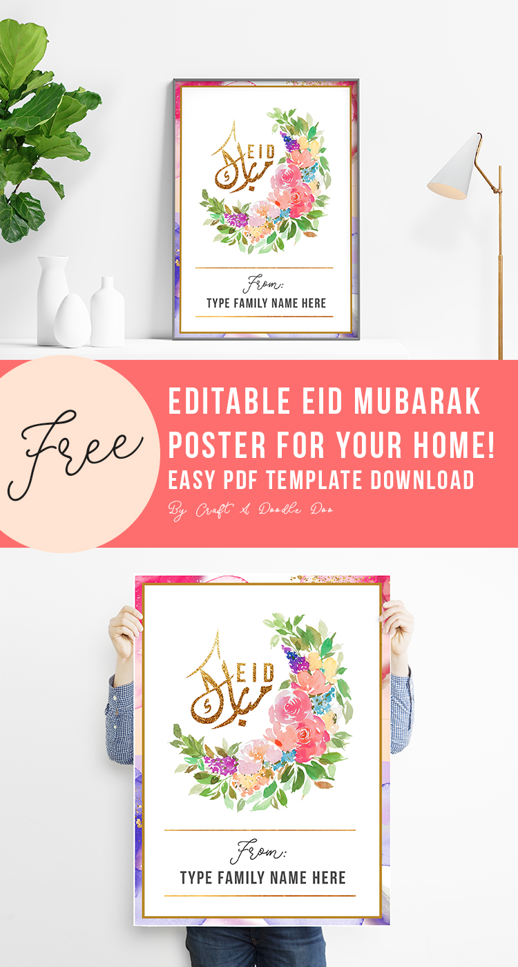 Editable Eid Watercolor Printable Wall Decor welcome poster by Craft A Doodle Doo #freeeidprintable #eidwalldecor #eidwatercolordecor #cuteeiddecor #eiddecorideas #freepdftemplate