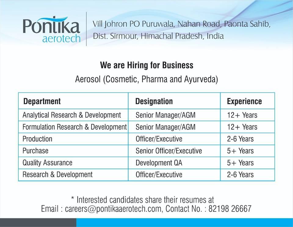 Pontika Aerotech, Multiple Job openings _QA. R-D,Production, Purchase   Apply CV NOW
