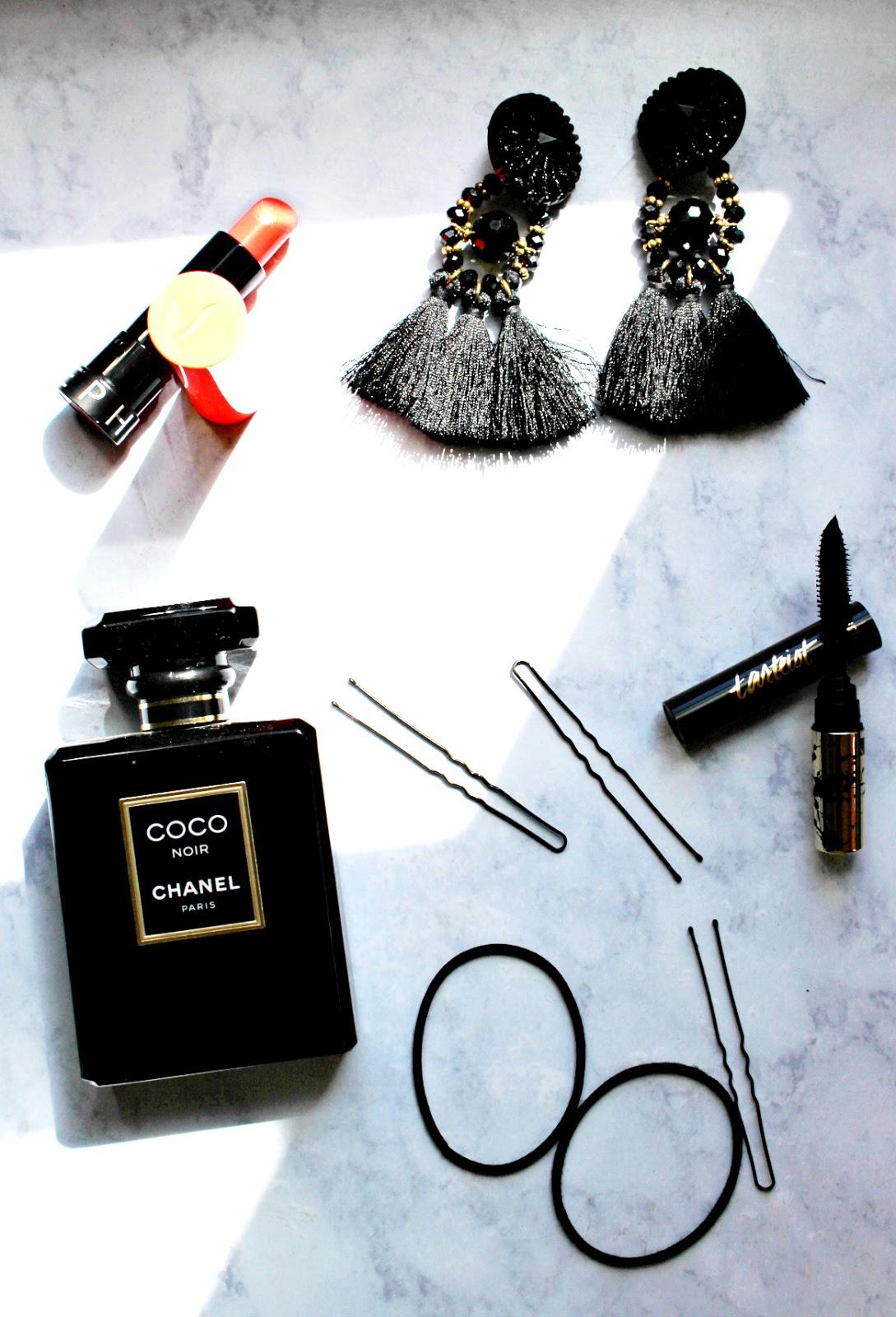 Chanel Coco Noir perfume flat lay