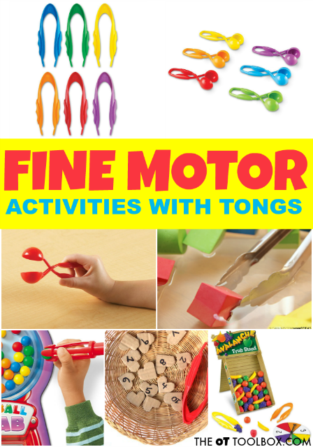 Tongs are a great tool for promoting and improving fine motor skills! Occupational therapy activities using tongs can strengthen fine motor skills!
