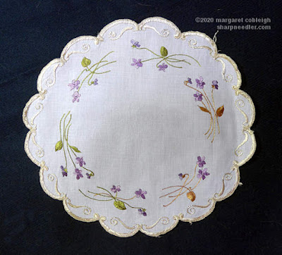Society Silk Violets: A second authentic antique version of the Society Silk violets centrepiece with purple flowers