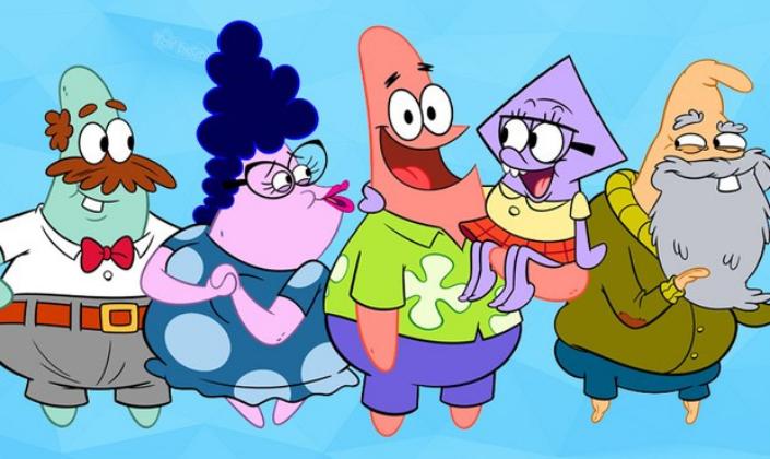 Imagem: os personagens de O Show do Patrick, da esquerda para a direita, um casal de duas estrelas marinhas, uma parecendo um homem de meia idade com bigode e cabelo marrom, camisa branca, gravata vermelha e calças cinzas com cinto e a outra uma senhora com cabelos crespos pretos e vestido azul com bolinhas e óculos, no meio o Patrick, uma estrela cor de rosa com calças roxas e camisa de botão verde havaiana segurando uma pequena garota lula com vestido verde e óculos e ao lado um vovô Estrela do mar, usando barba, um casaco de aviador e se apoiando em uma bengala.