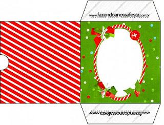 Funda CD´s para Imprimir Gratis de Navidad a Rayas.