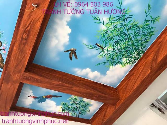 vẽ trần mây 3d tại vĩnh phượng bình xuyên vĩnh phúc