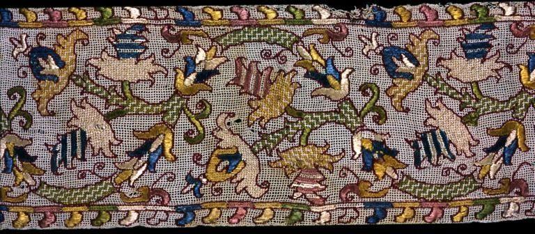 haftowany filet koronka siatkowa