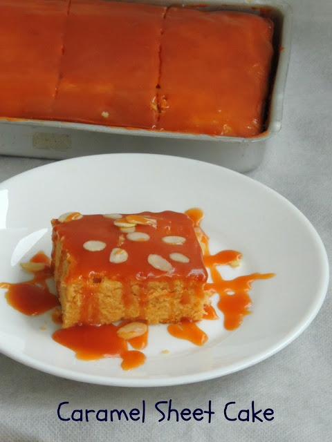 Caramel Sheet Cake with Caramel Sauce