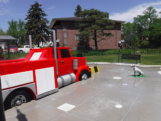 Firefighter themed splash pad at Rose Hill Park in Sioux City, Iowa