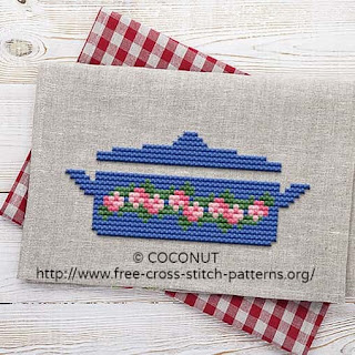 ANTIQUE POT (2), FREE AND EASY PRINTABLE CROSS STITCH PATTERN