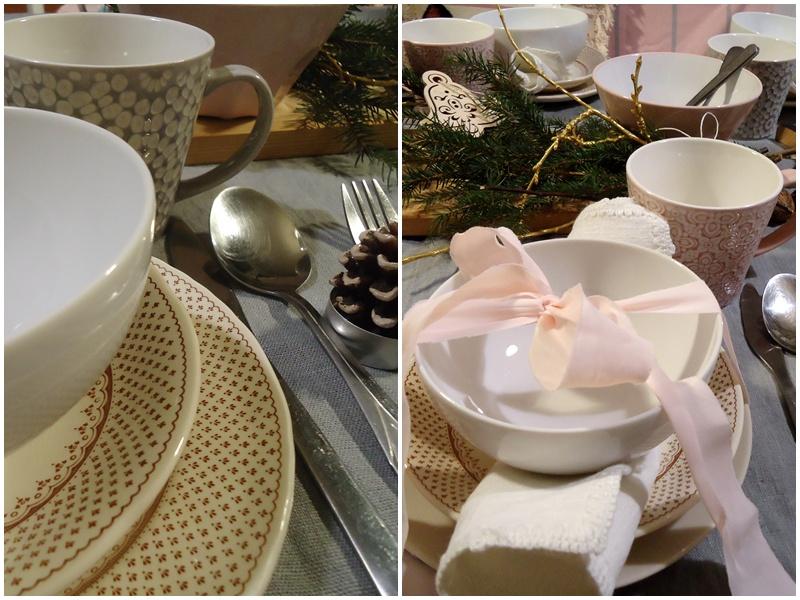 stół świąteczny, lniany, szary obrus i złote gałązki