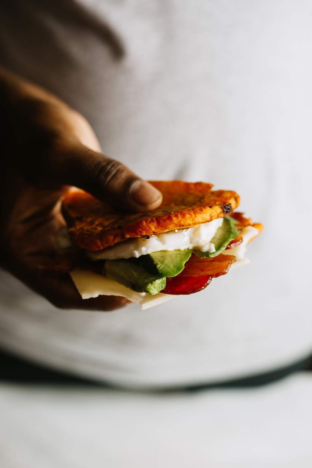 Avocado, Bacon, Egg Sweet Potato Toast Breakfast Sandwich