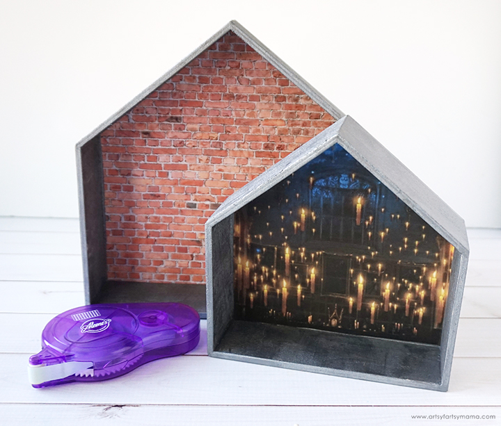 DIY Harry Potter Funko Pop Display backgrounds and tape runner