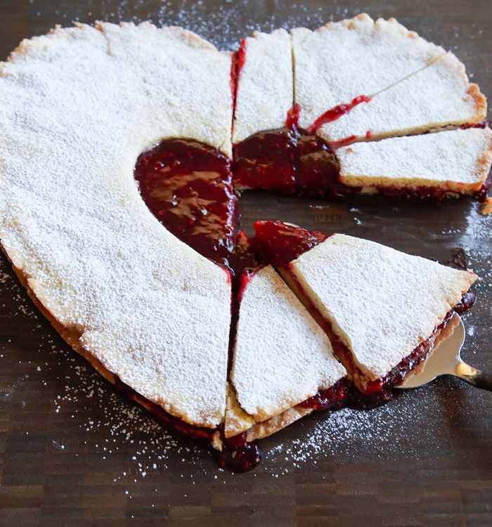 Giant Linzer Cookie! The cutest dessert for a family Valentine dinner! | bakeat350.net for The Pioneer Woman Food & Friends