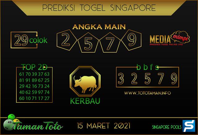 Prediksi Togel SINGAPORE TAMAN TOTO 15 MARET 2021