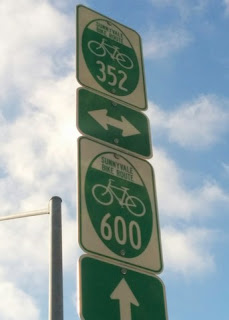 Signs for Sunnyvale Bike Routes 352 and 600, Sunnyvale, California