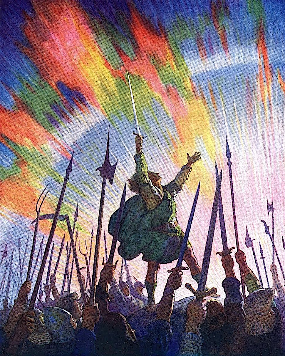 an NC Wyeth book illustration of Jack The Bruce, with colorful sky