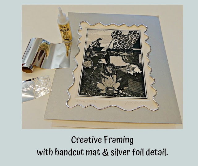 Creative framing with handcut mat & foil by Minaz Jantz