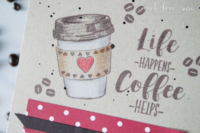 Super simple card, perfect for a sweet note and a little gift card to the recipients favorite coffee shop.  Created with Fun Stampers Journey Coffee Helps Stamp Set.