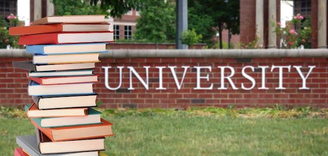 Brick wall with a sign reading university on it, with a stack of books in the forefront