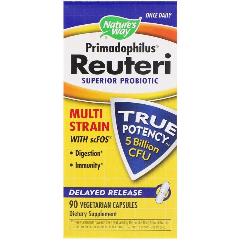 Nature's Way, Primadophilus Reuteri, улучшенный пробиотик, 5 миллиардов КОЕ, 90 вегетарианских капсул