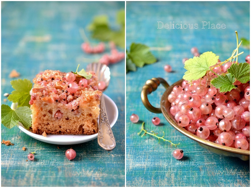 Wilgotne ciasto z różową porzeczką