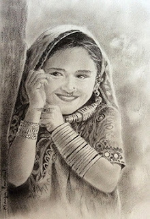 Charcoal portrait of a young girl from KUTCH, by Manju Panchal