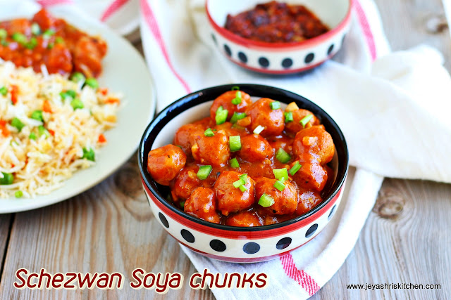 Schezwan soya chunks manchurian