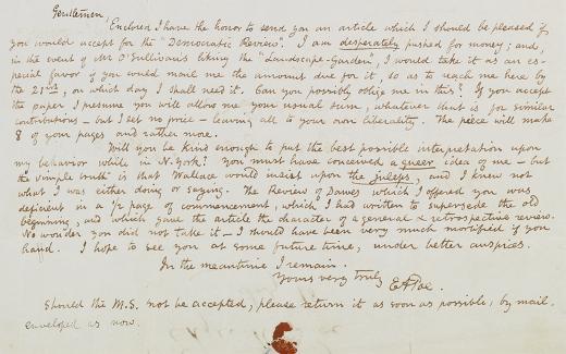 Manuscrito de Edgar Allan Poe