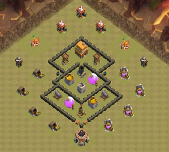 Base COC TH4 War 3