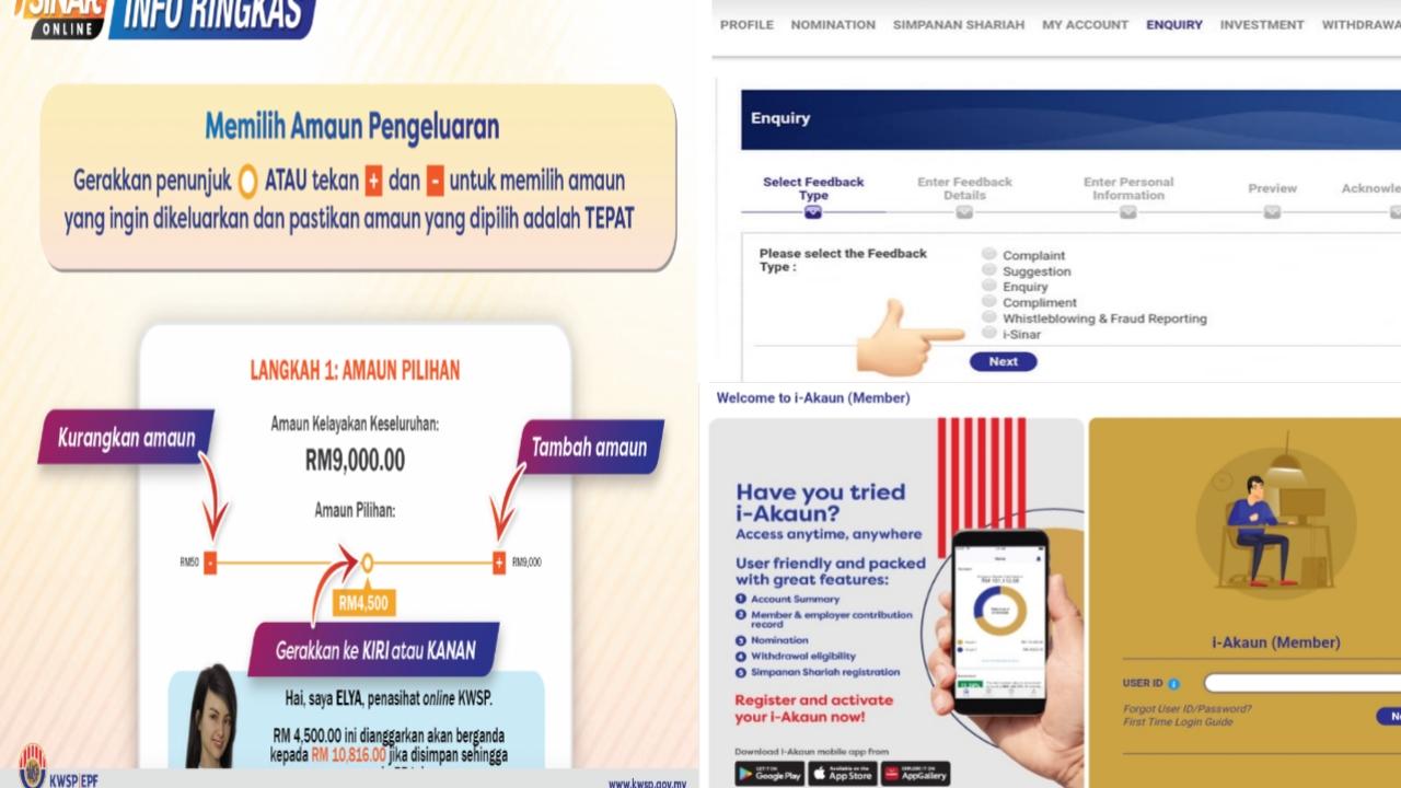 Cara Kemaskini Jumlah Pengeluaran i-Sinar KWSP Online Melalui i-Akaun