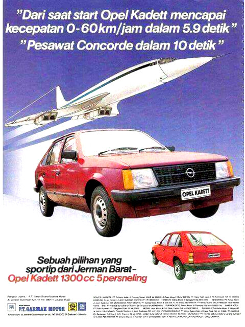 Brosur Opel Kadett Pesawat Concorde Indonesia