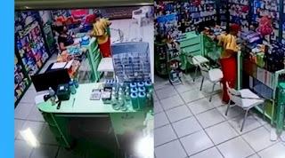 Homem a pé utiliza tesoura e assalta farmácia, em Conceição