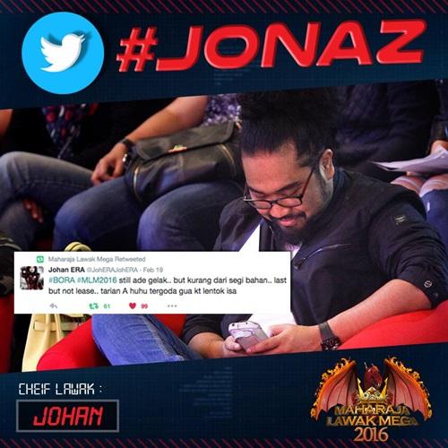 jonaz gabungan johan raja lawak dan sharnaaz ahmad pengkritik telus maharaja lawak mega mlm 2016, komen dan kritikan jonaz persembahan peserta maharaja lawak mega 2016
