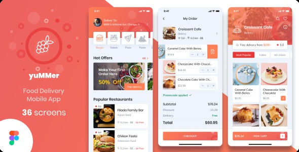 Best Food Delivery Mobile App Figma UI Template
